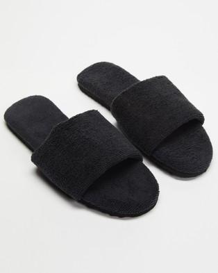 Staple Superior Casablanca Terry Towelling Slides - Sandals (Black)