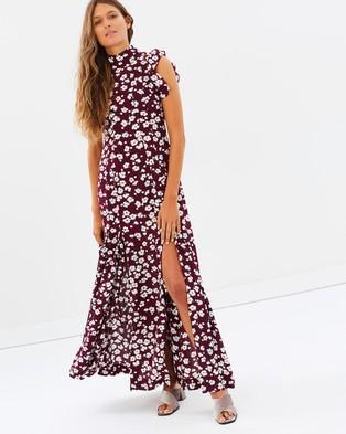 S/W/F – Eve Dress Floral Wine