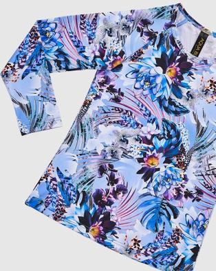Aqua Blu Kids Iris Long Sleeve Rash Vest   Kids - Swimwear (Iris)