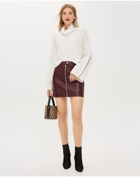 TOPSHOP - Leather-Look Mini Skirt