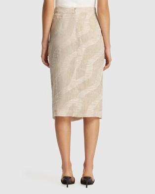 FRIEND of AUDREY Nadine Gathered Linen Print Skirt - Pencil skirts (Natural Print)