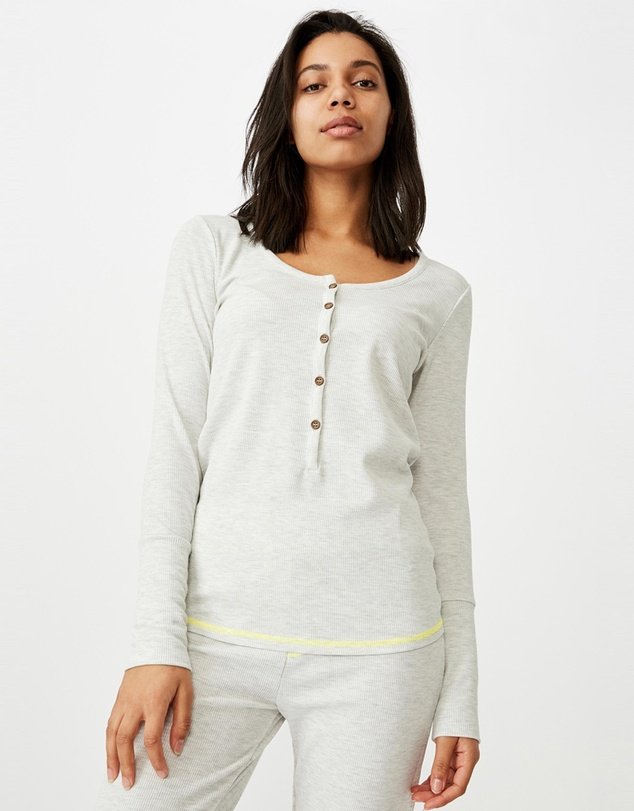 Cotton On Body - Henley Waffle Long Sleeve Top