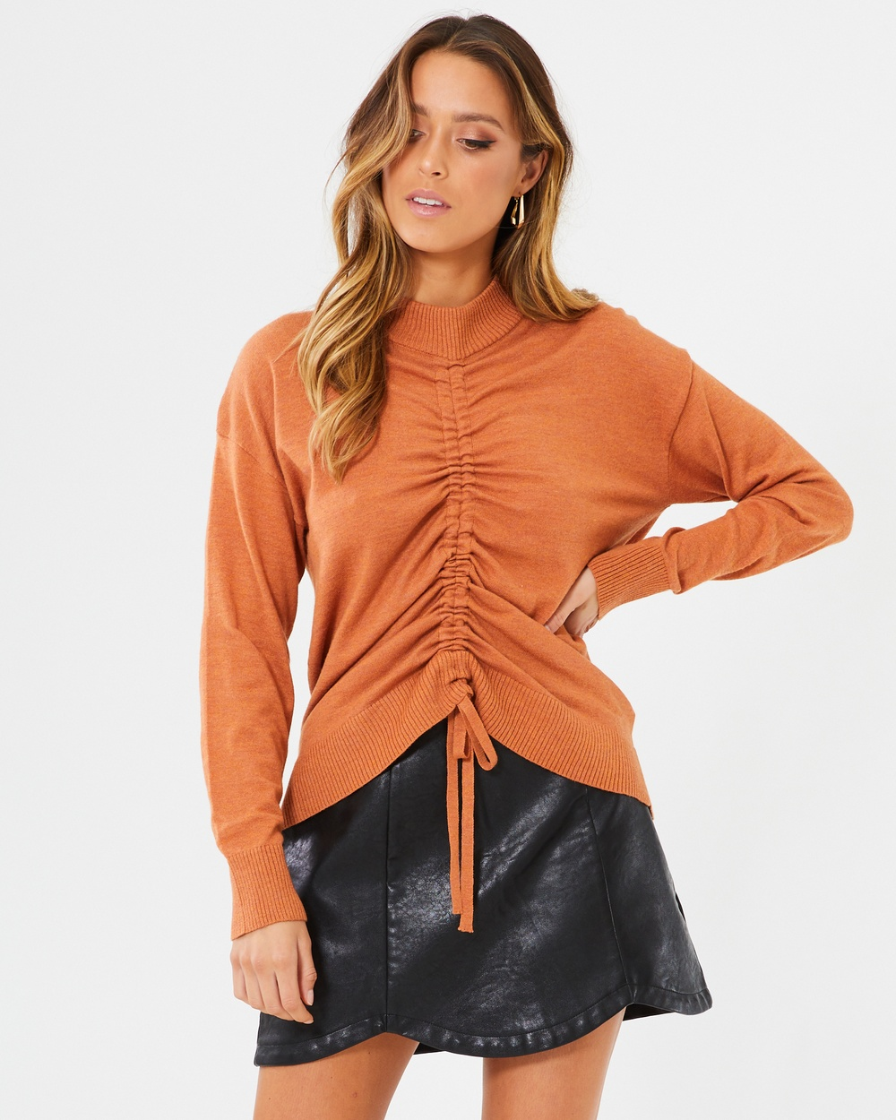 Calli Danny Ruched Knit Top Tops Rust Danny Ruched Knit Top