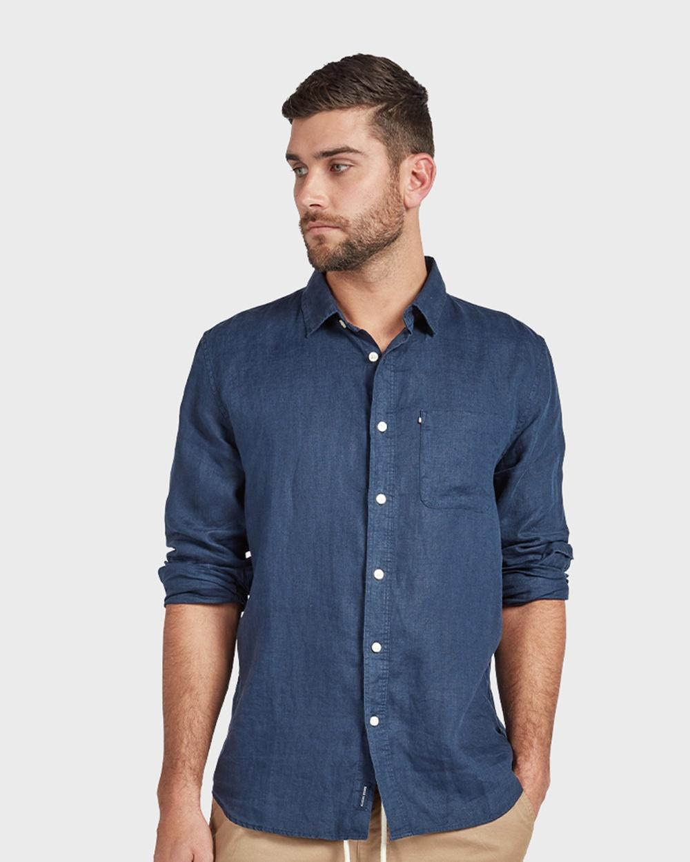 Academy Brand Hampton L S Linen Shirt Shirts & Polos Navy L-S