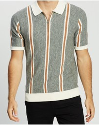 REISS - Ferry SS Half Zip Stripe Polo