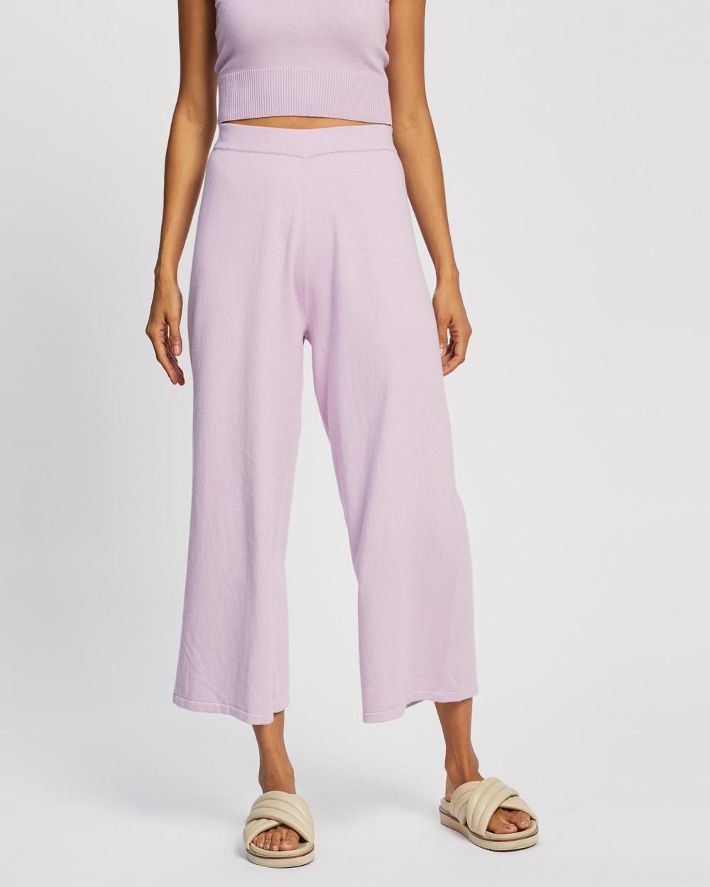 AERE Organic Cotton Knit Pants Pink Lavender