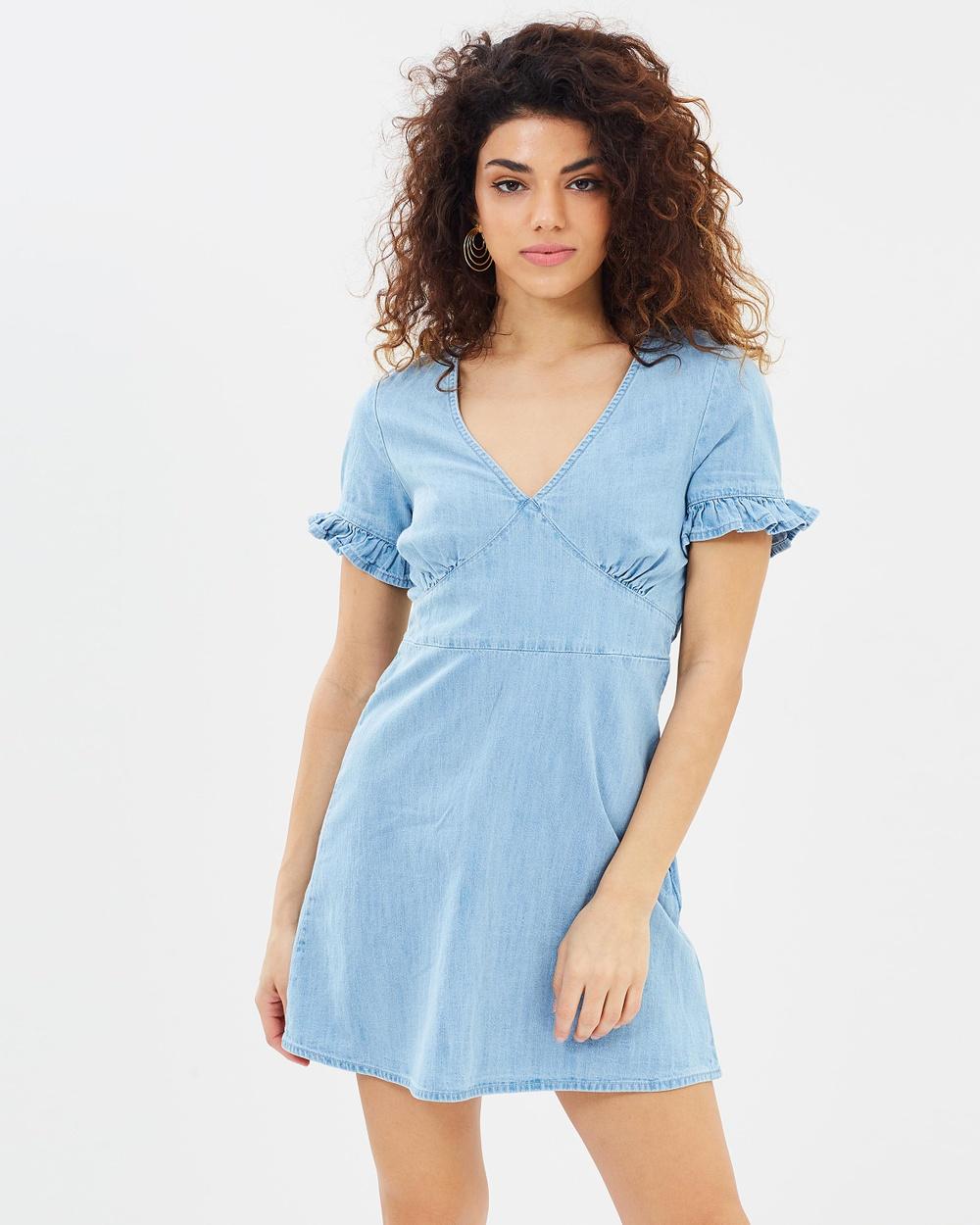 Miss Selfridge Petite V Neck Tie Back Denim Dress Dresses Blue V-Neck Tie Back Denim Dress