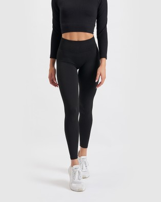 Core Trainer Paris Ribbed Tights - Sports Tights (Black)