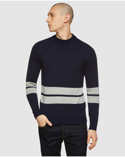 Oxford - Theo Striped Lambswool Crew Neck