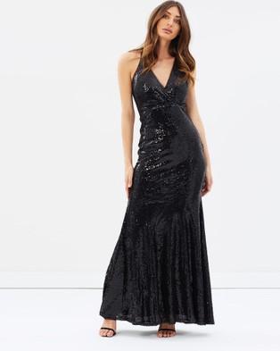 Bariano – Primrose V Neck Fishtail Gown – Bridesmaid Dresses (Black)