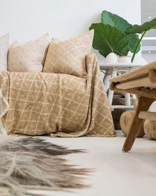 Bandhini Design Phulkari Weave Natural Cushion - Home (Natural)