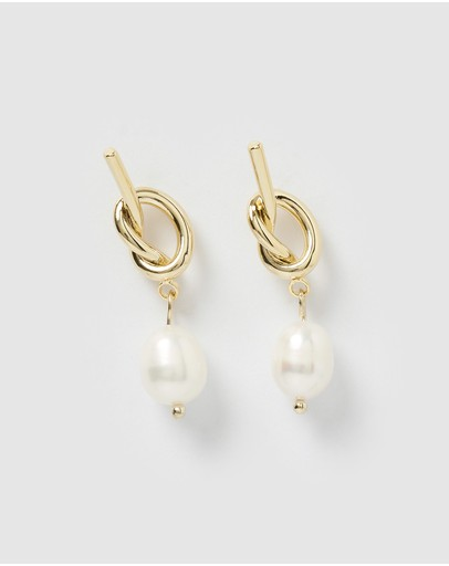 Izoa Tie The Knot Earrings Gold Pearl