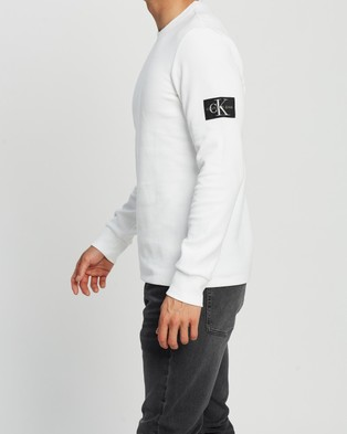 Calvin Klein Jeans Monogram Badge Long Sleeve Tee - Sweats (Bright White)