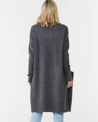 Everly Collective Toronto Long Cardigan - Jumpers & Cardigans (Dark Grey)