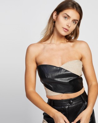 4th & Reckless Macie Top - Cropped tops (Black PU & Woven Mix)