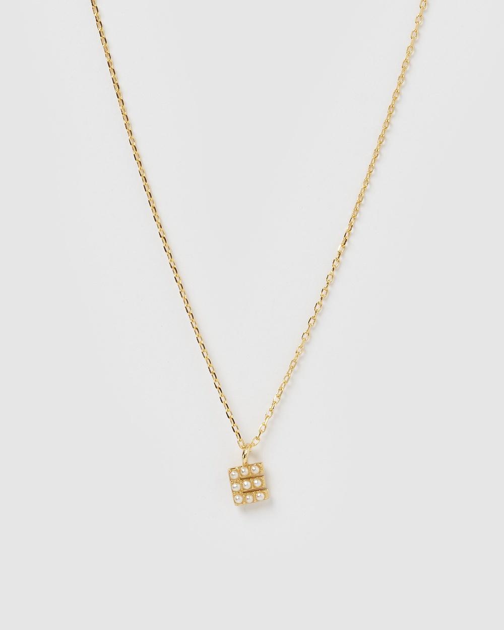 Izoa Pearl Letter E Necklace Gold Jewellery Gold