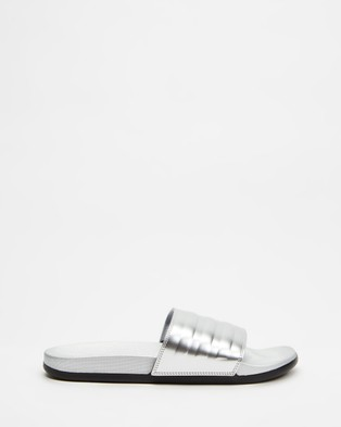 adidas Performance Adilette Comfort Slides   Women's - Sandals (Silver Metallic, Silver Metallic & Core Black)