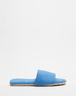 Staple Superior Casablanca Terry Towelling Slides - Sandals (Blue)