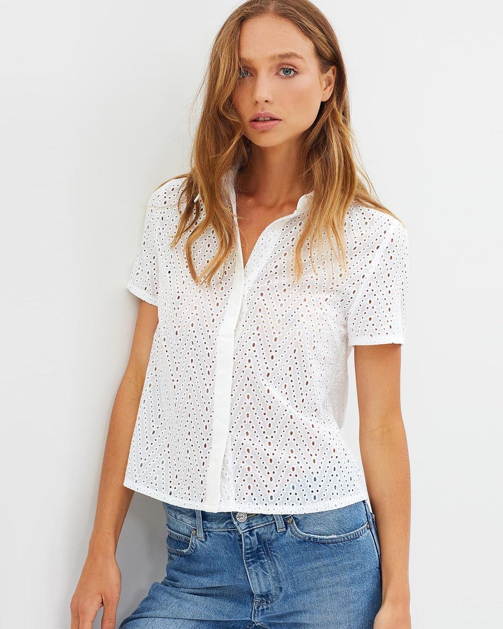 Ryder Lina Lace Shirt Tops White Lina Lace Shirt