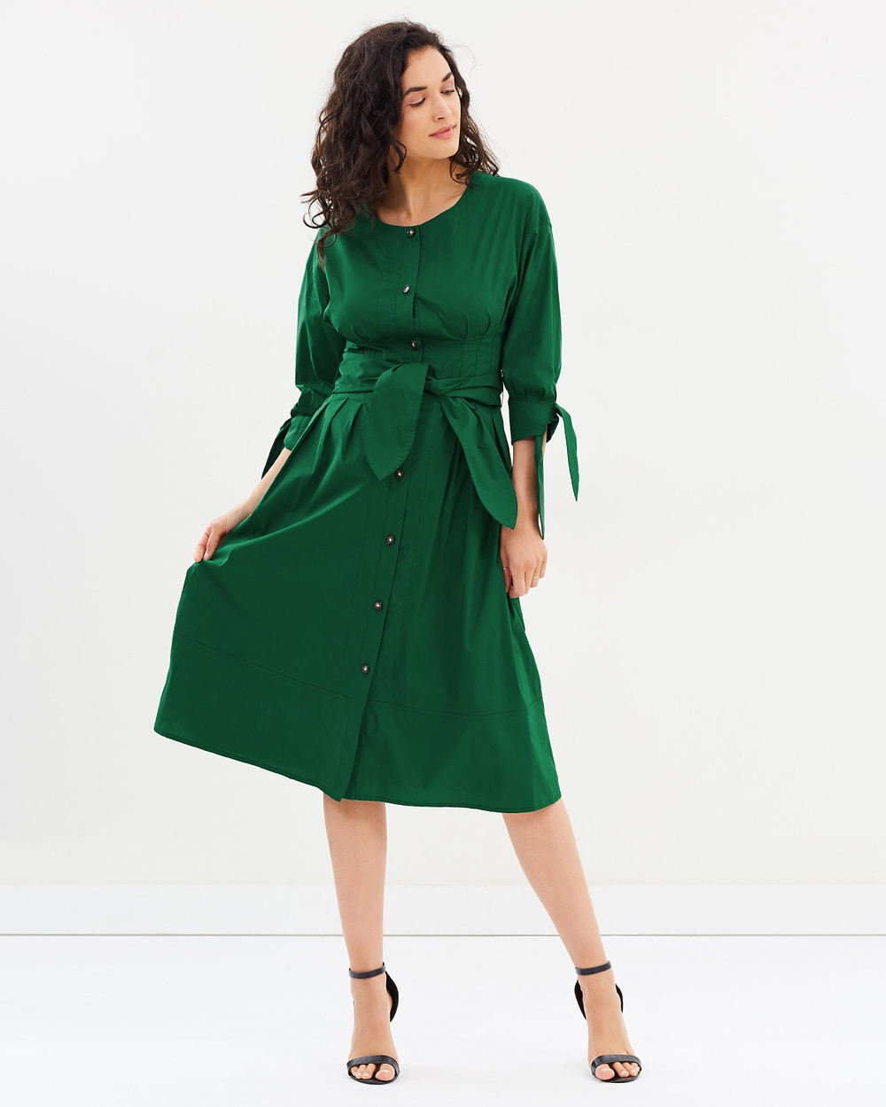 GREY Jason Wu Cotton Long Sleeve Crew Neck Tie Dress Dresses Emerald Cotton Long Sleeve Crew Neck Tie Dress