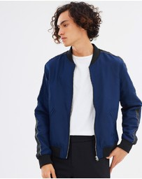 The Kooples - Grosgrain Sleeve Bomber Jacket