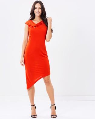 Pink Ruby – Tiger Jersey Assymetric Drape Dress – Dresses (Tangerine)