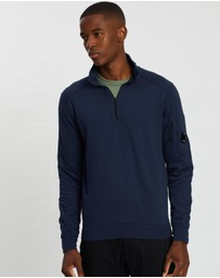 C.P. Company - Garment Dyed Light Fleece Quarter-Zip Sweater