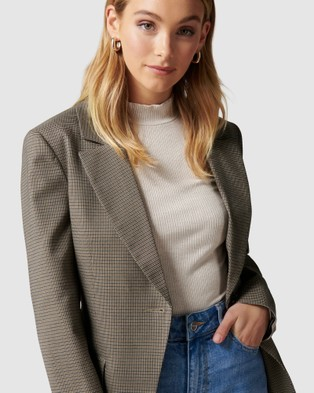 Forever New Alana check blazer - Blazers (Cinnamon Brown)