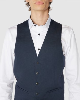 Jack London Navy Linen Waistcoat - Coats & Jackets (Blue)