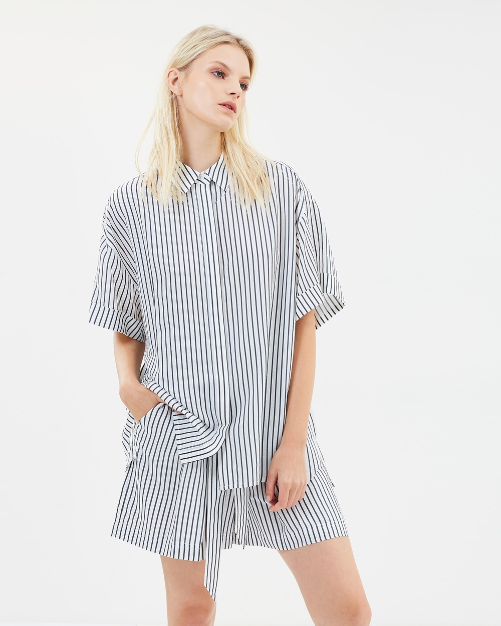 GREY Jason Wu Striped Short Sleeve Button Blouse Tops Star White & Elephant Striped Short Sleeve Button Blouse