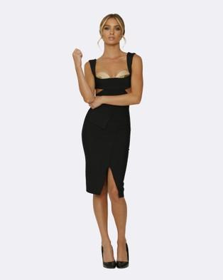 Honey Couture – Carla Black Cut Out Bandage Dress – Bodycon Dresses Black