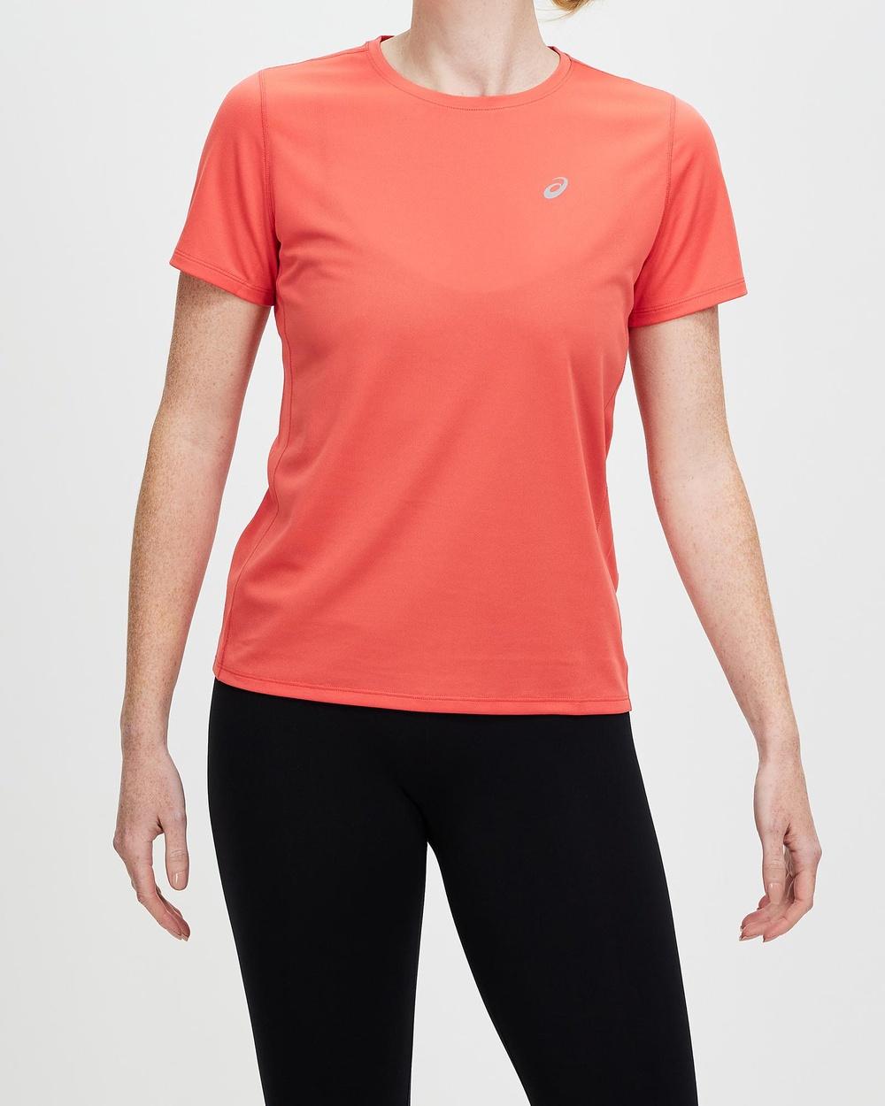 ASICS Katakana Short Sleeved Top Women's Sleeve T-Shirts Pink Grapefruit