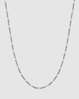 Kuzzoi Necklace Figaro Chain Basic Massive Oxidised in 925 Sterling Silver - Jewellery (Silver)