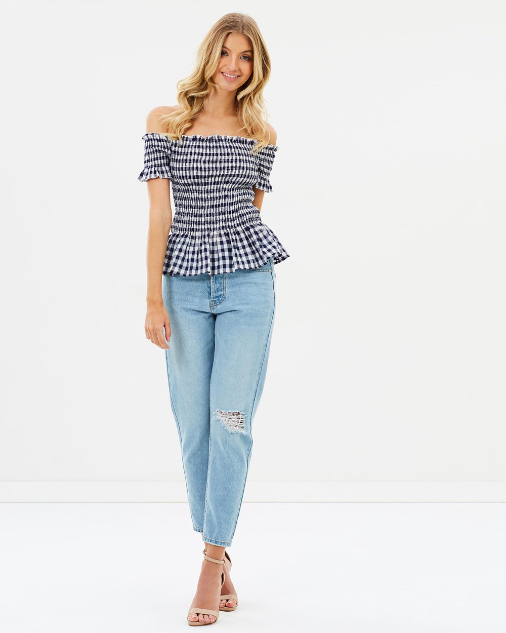 2d1a3c40176e1e ICONIC EXCLUSIVE - Tessa Off-the-Shoulder Shirred Top by Atmos Here Online