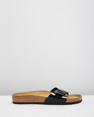Birkenstock Madrid Birko Flor Regular Fit Women's Sandals Black Patent Birko-Flor