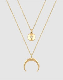 Elli Jewelry - Necklace Layer look Crescent Star Zirconia Stone 925 Sterling Silver Gold Plated
