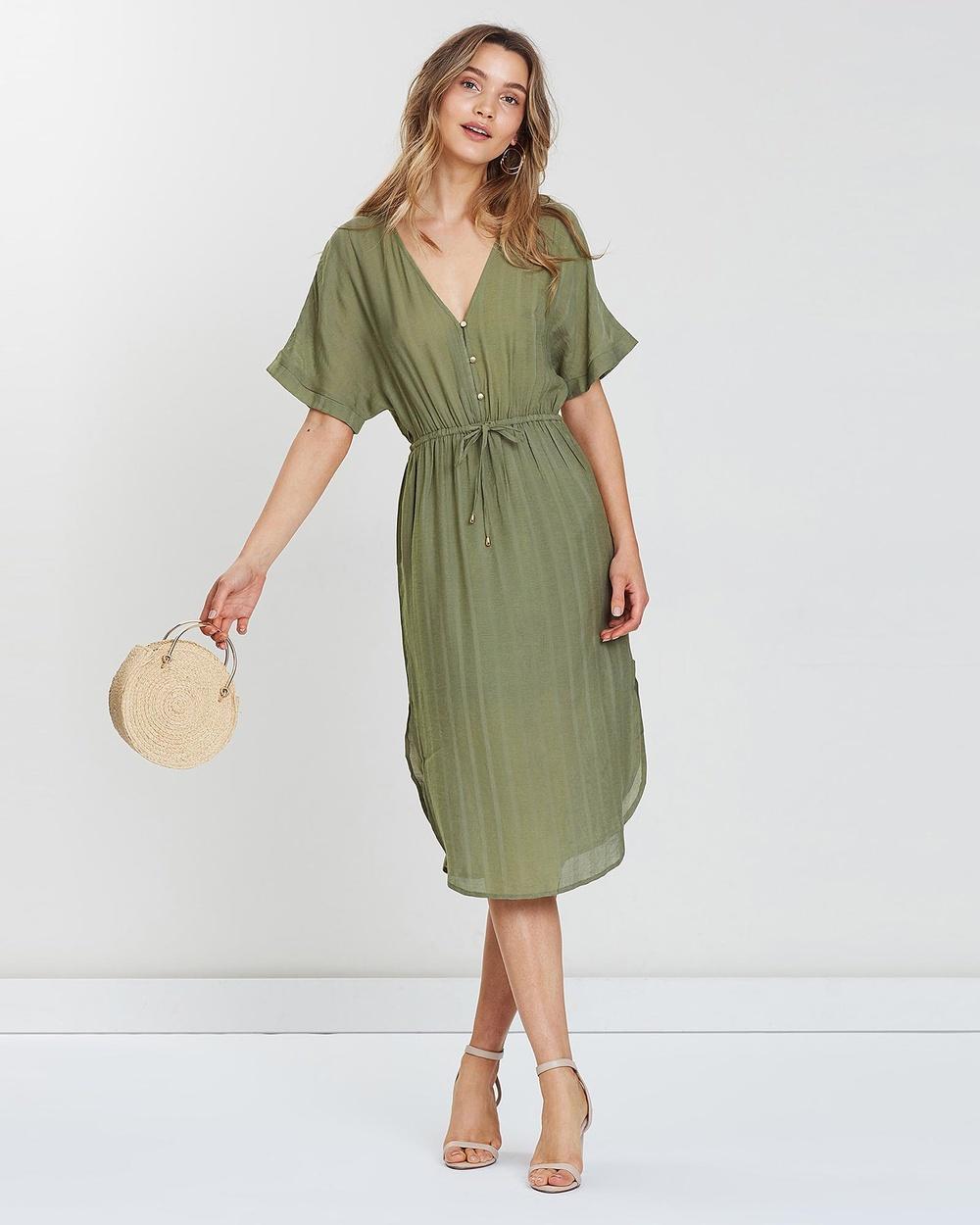 Wish Khaki Masion Midi Dress