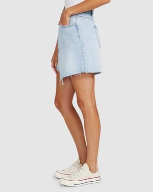 Neon Hart Winnie Wrap Denim Skirt - Skirts (BLUE)