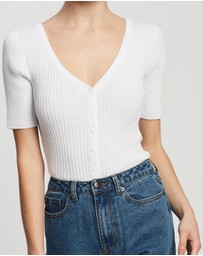 Atmos&Here - Ariana Cotton Knit Top With Buttons
