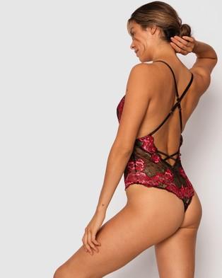 Bras N Things Trish Plunge Bodysuit - Lingerie (Black/Multicolour)