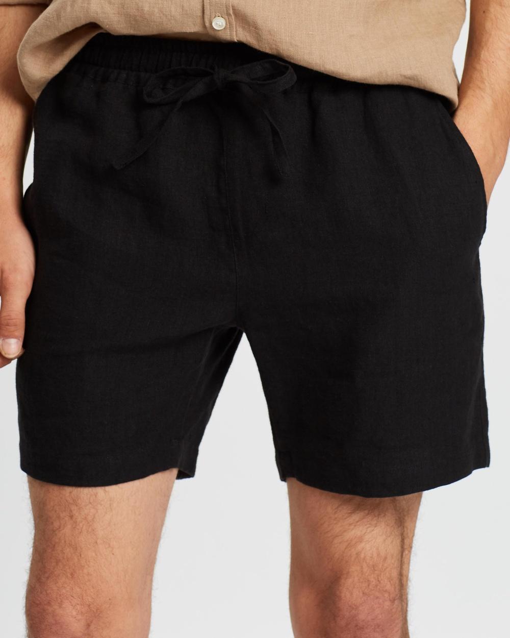 AERE Linen Pull On Shorts Black