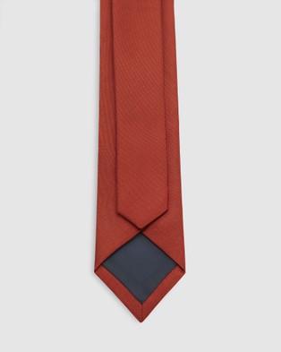 Buckle Plain Tie and Pocket Square Set - Ties (Orange)