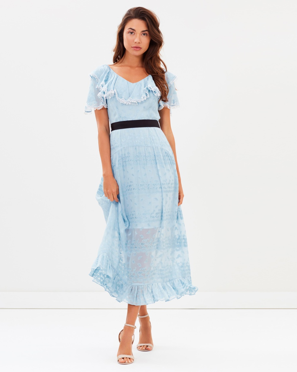 Perseverance Wisteria Jacquard Ruffled Midi Dress Bridesmaid Dresses Pale Blue Wisteria Jacquard Ruffled Midi Dress