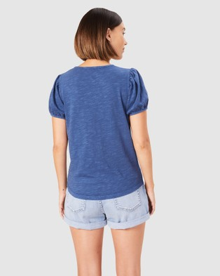 French Connection Washed Puff Sleeve T Shirt - T-Shirts & Singlets (INDIGO)