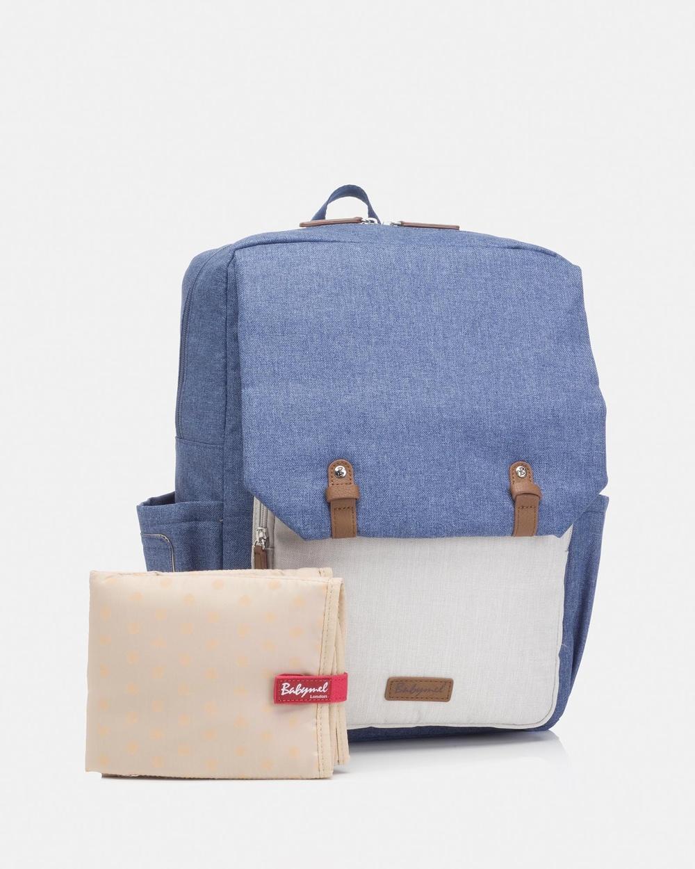 Babymel George Backpack Nappy Bag Backpacks Blue & Oatmeal
