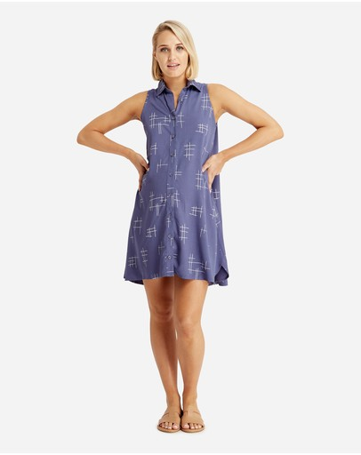 Bamboo Body Vera Sleeveless Shirt Dress Grid Print