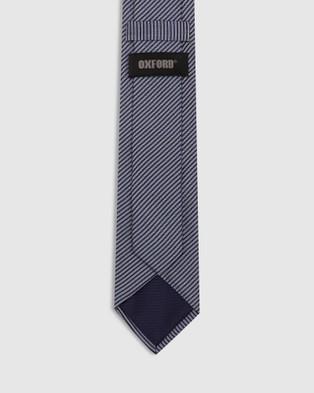 Oxford Mini Stripe Silk Tie - Ties (Blue)