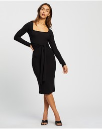 Missguided - Scoop Neck Self Tie LS Midi Dress