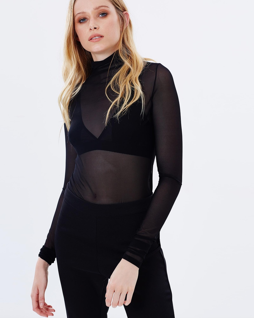Serpent & the Swan Mesh Roll Neck Top Tops Black Mesh Roll Neck Top