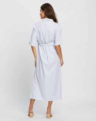 Angel Maternity Maternity Cotton Button Midi Dress - Dresses (White & Blue Stripe)